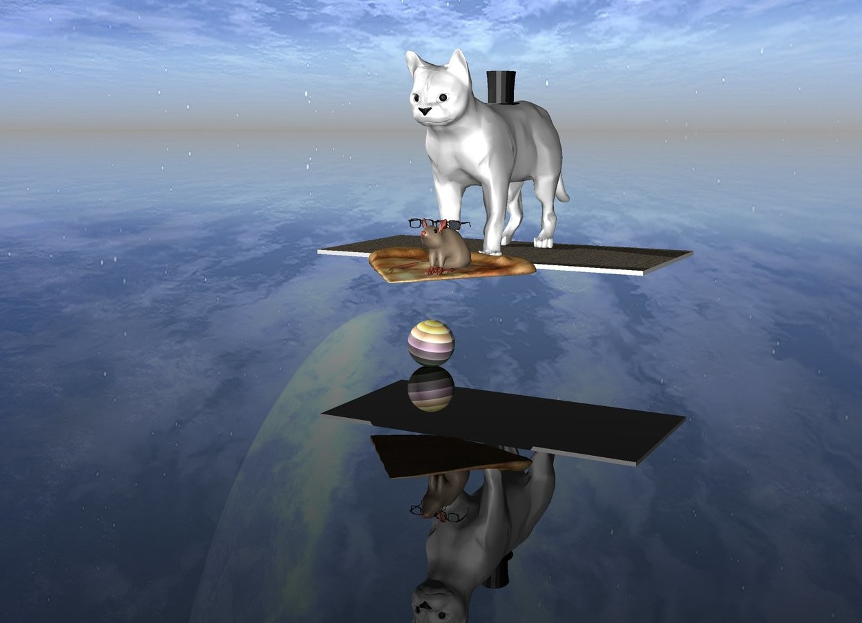 Input text: A rainbow sphere. There is a huge slice of pizza a foot above the sphere. The sky is black. The ground is transparent. There are stars in the sky. A nebula is in the top left. The large rat is on the pizza. Sunglasses are on the rat. A carpet is behind the pizza. A huge cat is sitting on the carpet. The cat is white. A top hat is on the cat.
