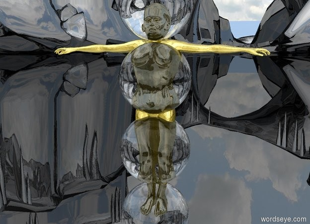 Input text: The ground is silver and shiny. The woman is gold and shiny. A large clear sphere is three feet in the woman. A large clear sphere is one foot in the woman. A large clear sphere is five feet in the woman. A large clear sphere is seven feet in the woman.