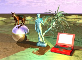 the large statue is water.  the palm tree is 8 feet behind the large statue.  the silver sphere is 15 feet tall and 7 feet to the left of the large statue.   the small cyan light is above the large statue.  the computer is 10 feet tall and red and 6 feet to the right of the large statue.   the small orange light is above the computer.   the cat is 10 feet tall and above the silver sphere.