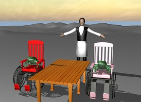 The very large green frog is on the large red wheelchair. The large red chair is 5 inches from the large table.  A large pink wheelchair is to the right of the large table..  A very large green frog is on the pink wheelchair.  A large waiter is 6 feet behind the table.