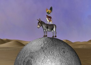 A tiny Donkey is on the giant moon. The moon is on desert. A tiny Dog is on the donkey. A  tiny cat is on the Dog.  a tiny rooster is on the cat.