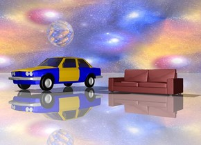 the sky is texture.  the ground is shiny.   the texture is 1500 feet tall.  the car is on the ground.  the huge clear sphere is 1.5 feet above the car.   the body of the car is blue.  the couch is 7 feet to the right of the car.
