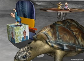 A Giant Turtle. a tiny animal is standing on the turtle. A Giant [Kohl]Circle  is standing on animal. a tiny man and a tiny woman stand on the Giant [Kohl]Circle . A tiny cat is next to the man. A giant [obama]Hamburger is next to the turtle. The hamburger is 10 feet tall and 10 feet wide.  Giant [Merkel]Cube in front of the hamburger. man on the cube.
