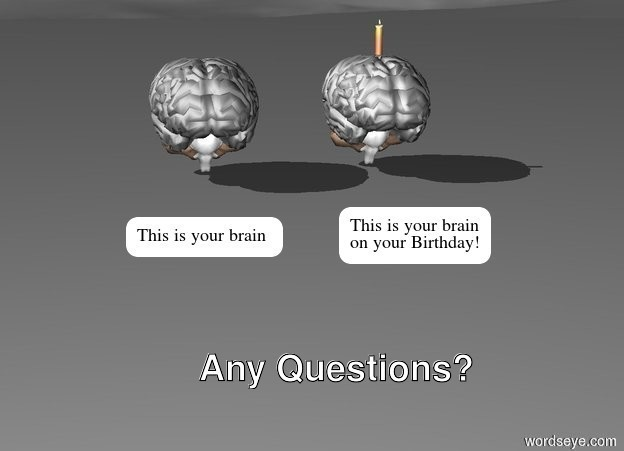Input text: One large brain.  One large brain 1 foot to the right of one large brain. Candle is on one large brain.