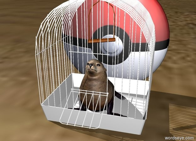 Input text: the animal fits in the white cage. the [pokeball] emoji is behind the cage.