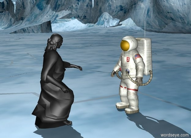 Input text: the statue is three feet in front of the astronaut. The statue is facing the astronaut