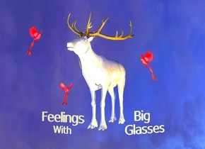 """The ground is reflective black.  The shiny white caribou is 800 feet above the ground.  There is an orange light to the right of the caribou.   There is a large shiny red bird 805 feet above the ground.  The bird is 2 feet west of the caribou.  The bird is facing east.    There is a second large shiny red bird 801 feet above the ground.  The second bird is 1.5 feet west of the caribou. The second bird is 3 feet north of the first bird. The second bird is facing southeast.   There is a third large shiny red bird 803 feet above the ground.  The third bird is 1 foot northeast of the first bird. The third bird is facing southwest.   7 inch tall """"Feelings    """" is 800.5 feet above the ground. """"Feelings    """" is 4.9 feet south of the first bird. """"Feelings  """" is facing south.   4 inch tall """"With"""" is 800.4 feet above the ground. """"With"""" is 4.9 feet south of the first bird. """"With"""" is .5 inches below """"Feelings    """". """"With"""" is facing south.  10 inch tall """"Big"""" is 800.2 feet above the ground. """"Big"""" is 1.4 feet east of the first bird. """"Big"""" is facing southeast.  7 inch tall """"Glasses"""" is 799.8 feet above the ground. """"Glasses"""" is 1.4 feet east of the first bird. """"Glasses"""" is below """"Big"""". """"Glasses"""" is facing southeast."""