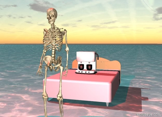Input text: Skeleton above ocean. 3 feet Behind the skeleton is a pink bed. A coffee maker is on top of the bed. A red light source is above the Skeleton.