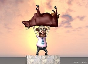the professor is on the stone slab.  the cow is -11 inches above the professor. it is upside down. it is facing left.