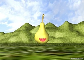 a gigantic pear.  the ground is unreflective [grass]. a giant mouth is .0001 inches in front of the pear. the mouth is 6 inches above the ground. the mouth is 2 feet wide. the mouth is 1 foot tall.