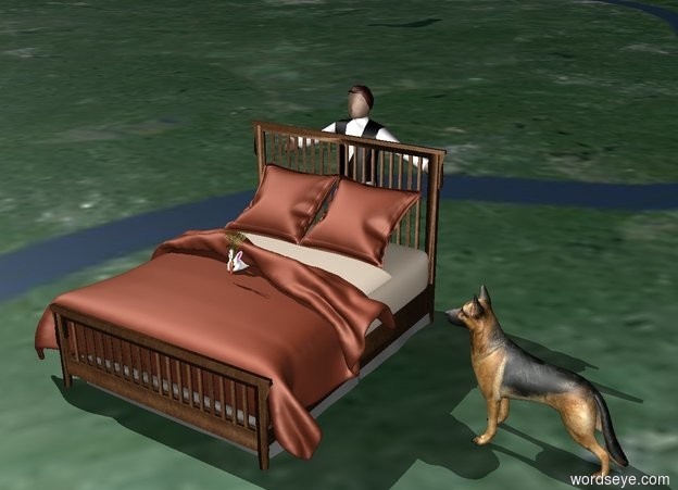 Input text: The rabbit is on top of the bed. A dog is one foot to the right of the bed. the dog is facing the rabbit. a man is behind the bed. the man is facing the rabbit. there is a carrot on top of the bed. the carrot is in front of the rabbit