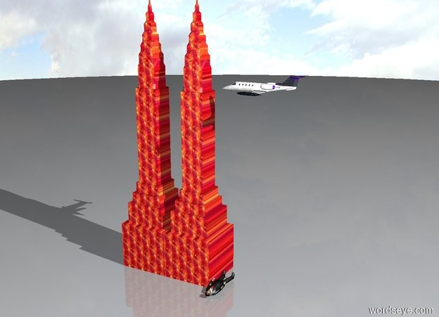 Input text: there are two skyscrapers. An airplane is next to the skyscrapers. The airplane is facing the skyscrapers. the airplane is 200 feet in the air. The skyscrapers are 300 feet tall. the airplane is big. the skyscrapers are fire. There is a very giant man next to the skyscrapers. the man is facing up.