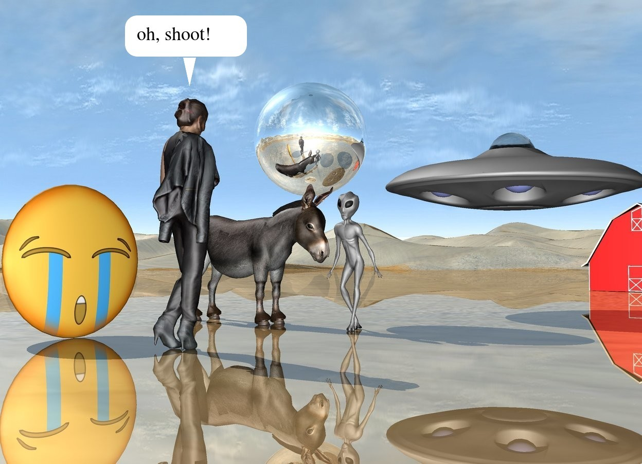Input text: the donkey is to the left of the alien. it is facing the alien. the ground is shiny. the tiny red barn is 30 feet behind the alien. the huge silver sphere is above and behind the donkey. the small ufo is 5 feet behind and above the alien. the woman is 5 feet in front of the alien. she is facing the alien. the large emoji is a few feet to the left of the woman. it is facing the woman.