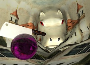 the castle hippo.   the clear purple sphere is -28 inches above the hippo. it is 3 inches tall.    the shiny knife is in the sphere.  the knife is 6 inches wide.   the knife is facing northwest.