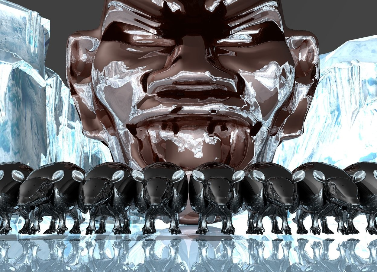 Input text: A gigantic shiny head is 40 feet behind 12 shiny black armadillos. The ground is mirrored. The sky is black.