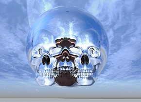 there is a 6 feet tall clear skull 1 feet above the ground. there is a 6 feet tall silver skull -25 inches right of it. there is a 2nd 6 feet tall silver skull -25 inches left of clear skull. a 6.3 feet tall red skull is -58 inches behind the clear skull. a 6.5 feet tall black skull is -61 inches behind it. a 7 feet tall silver skull is -63 inches behind it. an 8 feet tall silver skull is -65 inches behind it. 9 feet tall silver sphere is -80 inches behind it. the ground is shiny.