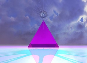 The ground is shiny. There is a transparent magenta pyramid on the ground. It is morning. There is a magenta light above the pyramid. There is a shiny eye 1.5 inches above the pyramid. A very small white shiny transparent star is 2 inches behind the eye and 6.5 inch above the ground. There is a cyan light behind the star.