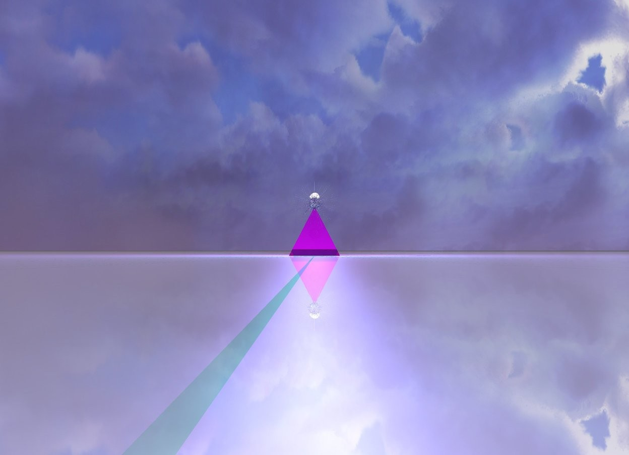 Input text: The ground is shiny. There is a transparent magenta pyramid on the ground. It is morning. There is a magenta light above the pyramid. There is a shiny eye 1.5 inches above the pyramid. A very small white shiny transparent star is 2 inches behind the eye and 6.5 inch above the ground. There is a cyan light behind the star.