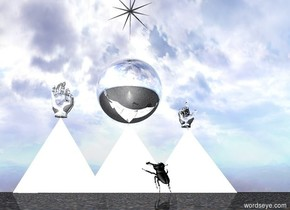 three enormous mirrored pyramids are on the ground. the ground is sand. there is an enormous silver sphere above the pyramids. there is an enormous silver hand 3.33 feet to the left of the sphere. there is an enormous silver hand 3.33 feet to the right of the sphere. the enormous black north star is 3.33 feet above the sphere. there is an enormous black beetle in front of the pyramids. the beetle is facing the pyramids. the beetle is 3 feet away from the pyramids. the beetle tilts 45 degrees from the back