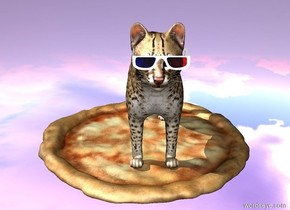 the pizza is 20 feet above the ground. there is a small cat on the pizza. the ground is purple. the ground is reflective. the small 3d glasses is in front of the cat. the 3d glasses is 1 foot above the pizza. the 3d glasses is in the cat.