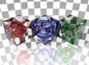 The ground is shiny. The clear cube is 6 inches above the ground. A small shiny red octahedron is -1 foot to the right of the cube.  The second cube is to the right of the clear cube. The second cube is in front of the clear cube. A small shiny blue icosahedron is -1 foot to the right of the second cube. The second cube is clear.  The third cube is to the right of the second cube. The third cube is in front of the second cube. A small shiny green dodecahedron is -1 foot to the right of the third cube. The third cube is clear.  The sky is checkerboard.