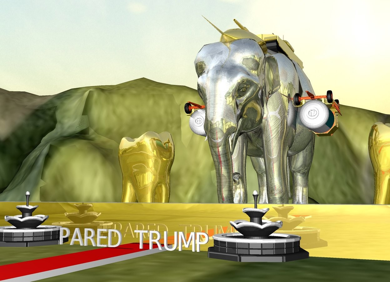 "Input text: a gold elephant is 5 feet above the tall ground. a tiny gold airport starter trailer is -4 feet above and -6 inches to the right of the elephant. it is upside down. a second tiny gold airport starter trailer is -4 feet above and -6 inches to the left of the elephant. it is upside down. a gold rocketship is 2.5 feet in the elephant. it is 12 feet tall. it is leaning 90 degrees to the front.  the small gold tank is 1.5 foot in the elephant. the ground is grass. the gold wall is 3 feet in front of the elephant. it is 1 foot tall. it is 50 feet wide. the tiny white ""PARED TRUMP"" is a foot in front of the wall. the very tiny fountain is to the left of the ""PARED TRUMP"". the second very tiny fountain is to the right of the ""PARED TRUMP"".   a very humongous gold tooth is 2 feet  to the right of the elephant. a second very humongous gold tooth is 2 feet to the left of the elephant. the carpet is in front of the elephant. it is facing left. it is 20 feet wide and 1 foot deep. it is red. the ""PARED TRUMP"" is above the carpet."