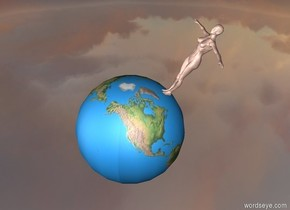 the 8 foot wide earth is 666 feet in the air. person -22 inches to the right of and -14.14 inches above the earth. person is leaning 33 degrees to the back. person is facing the earth. the ground is silver. the sun is grey.