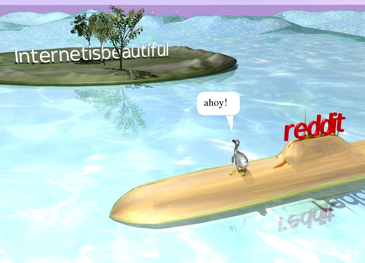 """Input text: the red """"reddit"""" is on the gold submarine. it is facing the right.  the submarine is a couple of feet in the tall water ground. the grass island is 40 feet to the left of the submarine. it is on the ground. the large """"Internetisbeautiful"""" is on the island. it is facing right. the 3 small trees are to the left of the """"Internetisbeautiful"""". the dodo is 3 feet in front of the """"reddit"""". the dodo is 1.5 feet in the submarine. it is facing left."""