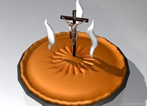 The crucifix is on the gigantic pie