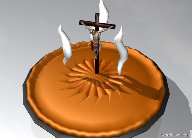 Input text: The crucifix is on the gigantic pie