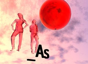 "There is a huge clear pink woman 400 feet above the ground.  the ground is silver.   The woman is facing left..  There is a second huge clear pink woman 400 feet above the ground.  The second woman is facing right. The second woman is 60 feet left of the first woman.  There is a light pink clear sphere 425 feet above the ground.  the sphere is 30 feet tall and 30 feet deep and 30 feet wide.  The sphere is 20 feet left of the first woman.  10 foot tall black ""_As"" is 1 foot in front of the second woman. ""_As"" is 395 feet above the ground.  The camera light is yellow. the ambient light is pink. it is noon."