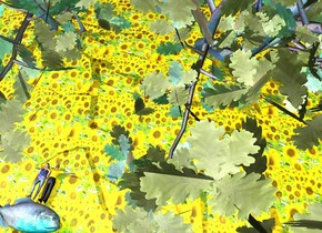 the [sunflower] texture is on the ground. the texture is 10 feet tall. the matte man is -2.5 feet to the right of the matte girl. the girl is leaning 88 degrees to the back.  the man is leaning 90 degrees to the back. the huge matte tree is -40 feet behind the man. it is -60 feet above ground. the enormous teal fish is .05 feet in front of the girl. it is facing right. it is leaning 90 degrees to the left. the maroon light is to the right of the tree. the maroon light is to the left of the tree. the blue light is on top of the fish. the green light is to the right of the fish. the dark green light is to the left of the fish.