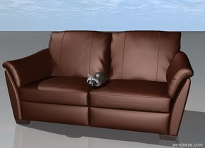 A raccoon is in a large couch.