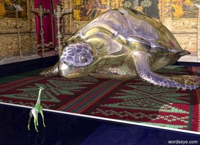 The very large gold turtle is on the dark blue ground. 1.5 foot in front of the turtle is a very tiny  [spotted] giraffe. It is facing the turtle. 10 feet to the left of the turtle is a large [temple] wall. The large wall is facing the turtle. Under the turtle is a [pillow] floor. The second large [temple] wall is 5 feet behind the turtle.