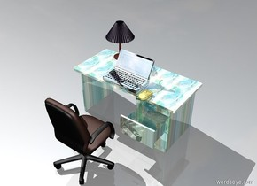There is a glass desk. On the desk there is a huge silver computer. Next to the computer is a desk lamp. The desk lamp is .1 feet behind the computer. To the right of the computer is a large golden mouse. The mouse is .2 foot from the computer. the mouse faces west. A chair is to the south of the desk. The chair faces the north