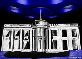 A very very giant blue ufo is 2 feet above the white house. A huge garden is in front of the white house. A very bright blue light is under the ufo. A very bright blue light is 1 foot above the white house. A white light is 1.5 feet above the white house.  It is night. A very huge fire is 6 feet below the ufo.