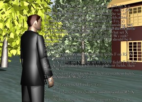 A man. There is a building 30 feet in front of the man. the building is facing the man. There are 3 trees on the right of the building. ground is unreflective.