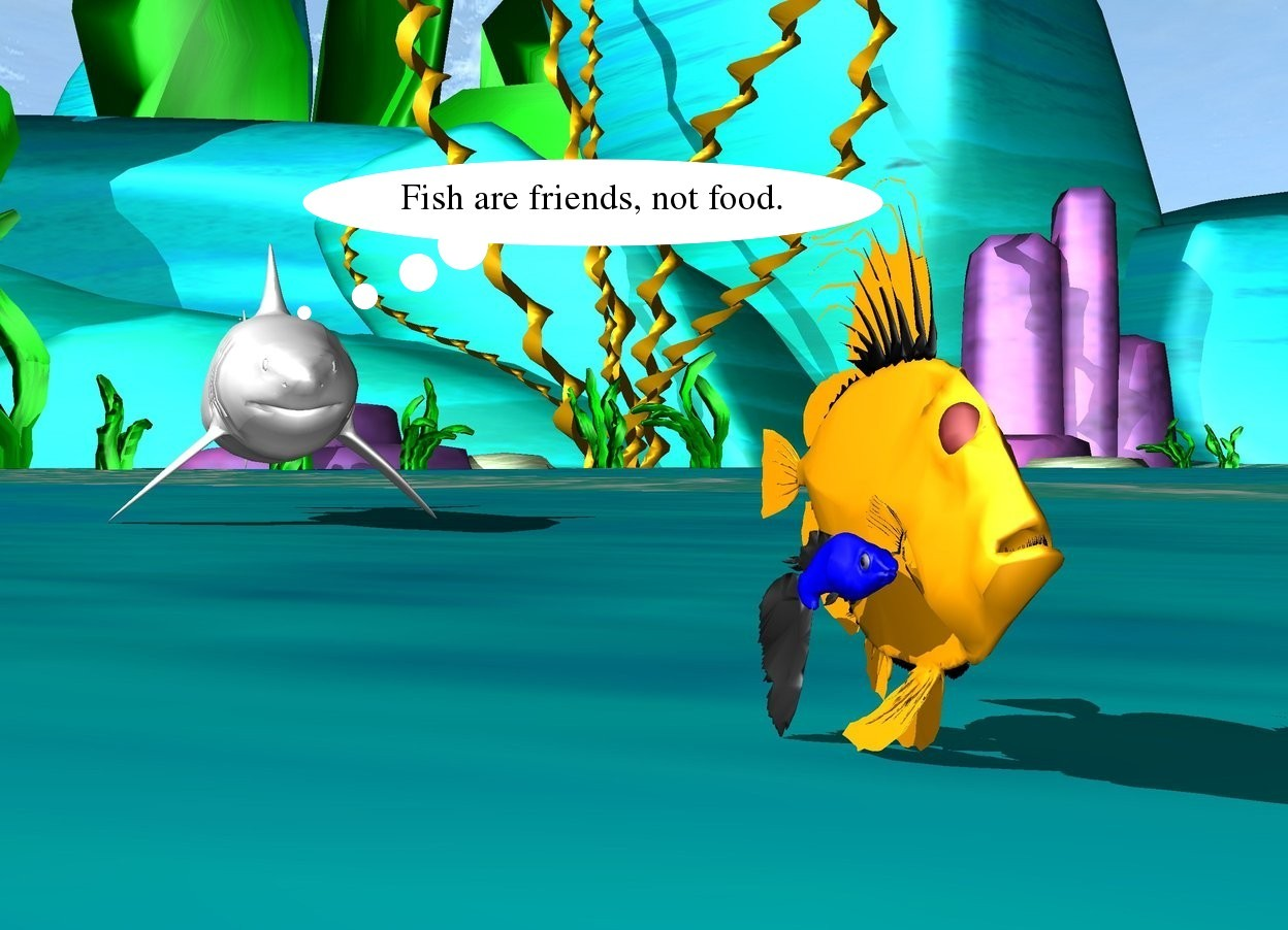 Input text: the blue fish is next to the orange fish. a shark is 8 feet behind the blue fish.