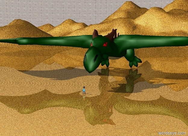 Input text: the ground is  [goldcoins] texture. the texture is 1 inch tall. the sky is [stone] texture. the texture is 100 feet tall. a huge dragon. a tiny man is a few feet in front of the dragon. the tiny man is facing the dragon.