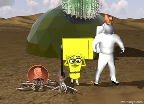 3d cartoon object with big starfish. yellow building 10 feet behind starfish. big squirrel in astronaut to the right of starfish. clarinet inside small squid to the left of 3d cartoon object. gigantic money inside huge crab to the left of squid. very large plant 12 feet behind squirrel.