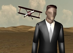 the man is leaning 20 degrees to the front. his tie is grey. his lip is tan. the dark red airplane is 60 feet behind and 5 feet above the man. the airplane is leaning 13 degrees to the left.