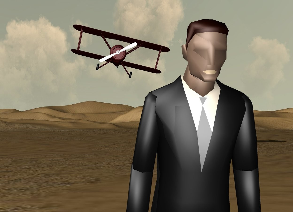 Input text: the man is leaning 20 degrees to the front. his tie is grey. his lip is tan. the dark red airplane is 60 feet behind and 5 feet above the man. the airplane is leaning 13 degrees to the left.