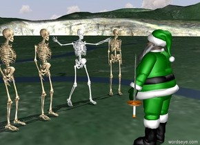 green elf. 5 skeletons 5 feet in front of elf. the skeletons are facing the elf. the sword is 2 feet in the air. the sword is to the right of the elf.