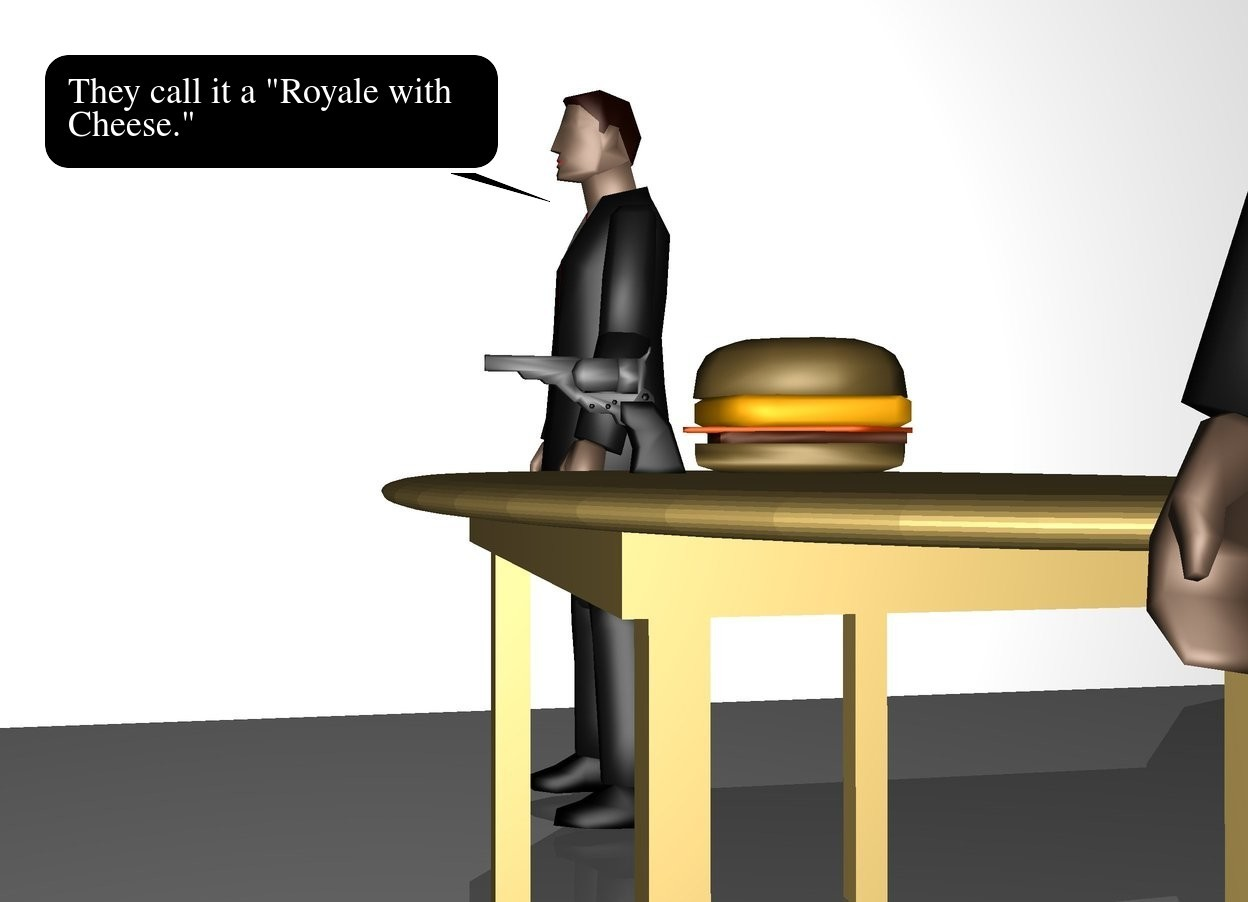 Input text: There is a large wall at the front of the large wall. the wall is facing left.  There is a table 6 feet to the right of the wall. a big burger is on the table. A man is on the left of the table. a man is on the right of the table. there is a gun in front of the burger.