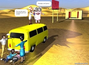 The yellow Volkswagen bus is facing right. The boy is to the left of the yellow Volkswagen bus. He is facing right. The woman is 2 feet in front of the boy. She is facing back. The first man is behind the boy. He is facing front. The second man is in front of the boy. He is facing right. The stage is 100 feet to the right of the yellow Volkswagen bus. It is facing the yellow Volkswagen bus. There is a fuschia billboard 50 feet to the right of the yellow Volkswagen bus. It is 5 feet behind the yellow Volkswagen bus. The big pink cartoon is on top of yellow Volkswagen bus. It is facing southwest. There is a pink light to the left of the stage. There is a yellow light above the pink cartoon. The third man is 1 foot to the left of the pink cartoon. He is facing front. There is a yellow light below the yellow Volkswagen bus.