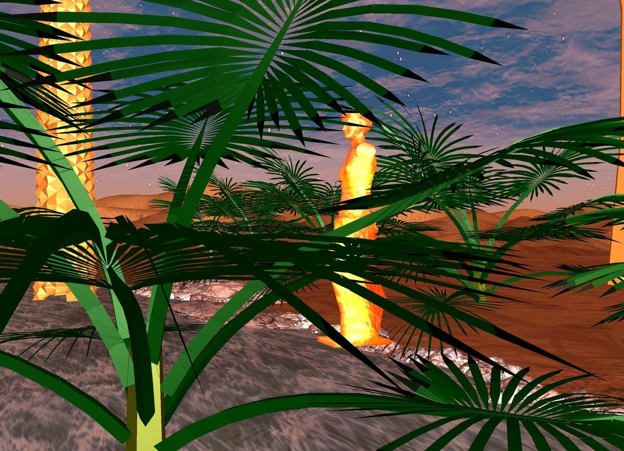 Input text: the glass statue is on a river. it is dawn. ambient light is peach. there are 8 dwarf palm trees behind the glass statue. There is a path in front of the statue on the ground.there are 8 palm trees on the right of the glass statue.there are 8 palm trees on the left of the glass statue.