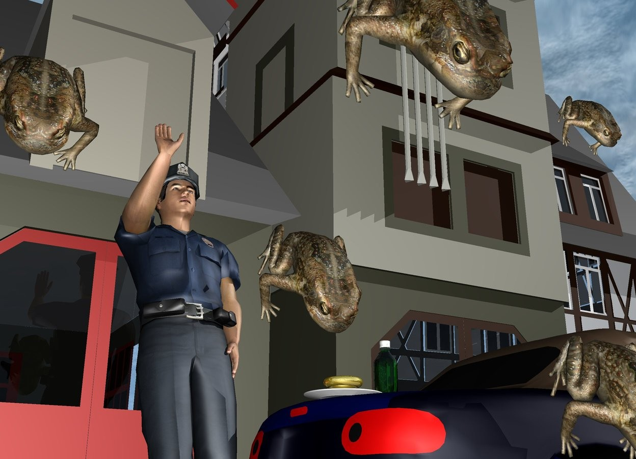 Input text: the policeman is in front of the small structure. he is leaning 20 degrees to the back. the car is  to the right of the policeman. it is facing right. it is morning. the plate is -1.1 foot above and -1.5 feet to the left of the car. the soda bottle is to the right of the plate. the small gold donut is 1 inch above the plate. it is face up. the first large frog is 2 feet in front of the policeman. it is 4 feet above the ground. it is face down. a second frog is 1 foot below and to the left of the first frog. it is face down. a third frog is a foot to the left and above the second frog. it is face down. a fourth frog is 3.5 foot in front of the policeman. it is 1.5 feet above the ground. it is face down. the small frog is 1 foot above the fourth frog. it is face down.