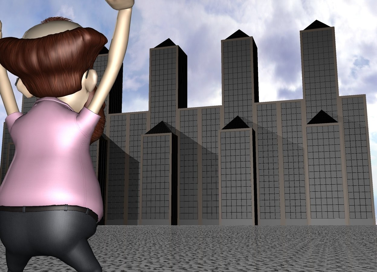 Input text: a man is 1000 feet in front of a building. the man is facing the building. a 2nd building is next to the building. a 3rd building is next to the building.a 4th building is next to the 3rd building. the 5th building is next to the 4th building. ground is rock.