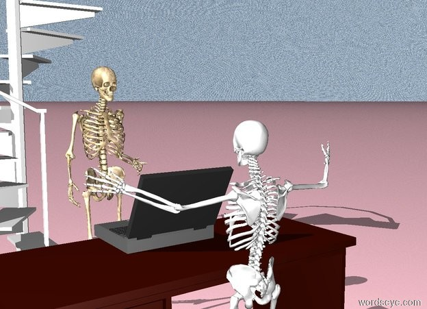Input text: The huge laptop is on the large desk. The tall skeleton is standing behind the desk. The laptop is facing the skeleton. The desk is facing the skeleton. The sky is water. The ground is pink. The stair is 5 feet behind the skeleton. The stair is 20 feet tall. The bottle is on the stair. The bottle is green. The bottle is 3 feet tall. There is another skeleton. The skeleton is in front of the desk. The skeleton is facing the desk. The skeleton is 10 feet tall.