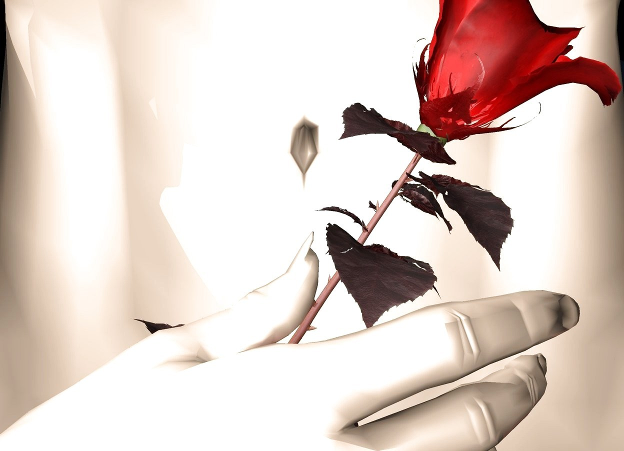 Input text: a [skin] woman. the ground is clear. a brown light under the woman. a rose 0.00001 centimeter in front of the woman. the rose is 51 inches above the ground. the rose is leaning 33 degrees to the left. A hand 54 inches above the ground. The [skin] hand is facing east. The hand is 0.0001 centimeter in front of the rose. The hand is facing up. The hand is little. The rose is little. The sky is clear. The rose is red